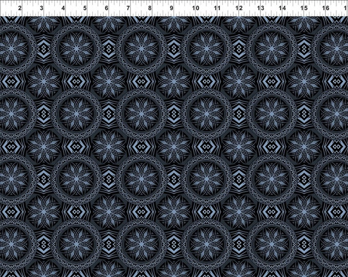 Blue Fury Celtic Accent on Black  - In the Beginning Fabrics  Premier 100% Quilt Cotton