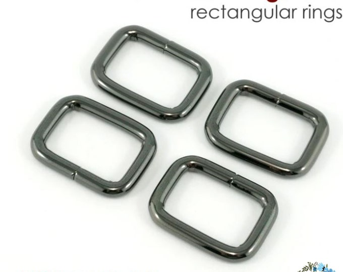 EMMALINE BAG HARDWARE Rectangular Rings 4 pack (.75 inch) - Gunmetal