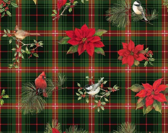 Christmas Bird Song by P&B Tex - Plaid Design with lovely Cardinals and Chickadees