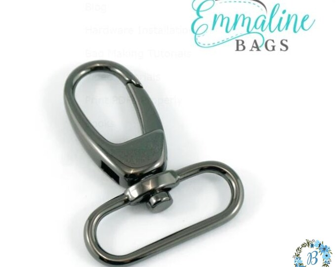"EMMALINE BAG HARDWARE 1-1/2"" Swivel Snap Hook: Designer Profile (2 Pack) - Gunmetal"