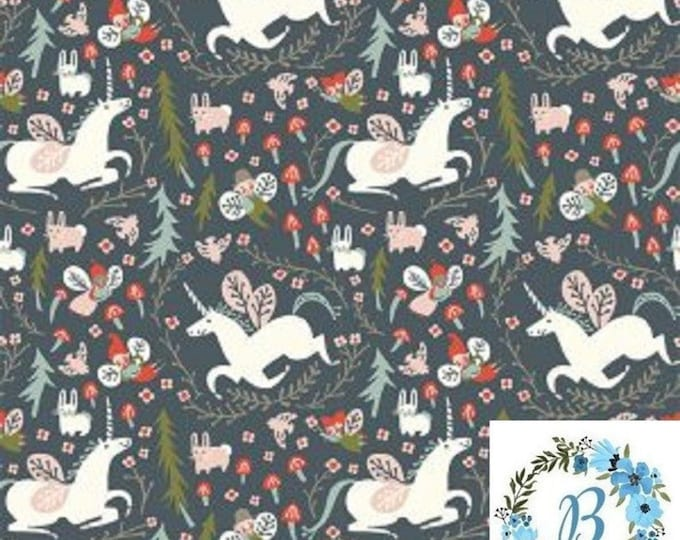 WoW!  DOMINIQUE  Here is your listing: Birch Fabrics Organic - Enchanted Unicorns in DUSK - Folkland by Kristen Balouch