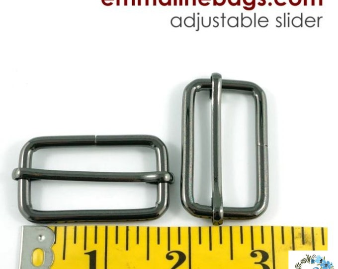 EMMALINE BAG HARDWARE   Strap Sliders - 1.5 inch- for thicker straps (2 pieces)  Gunmetal