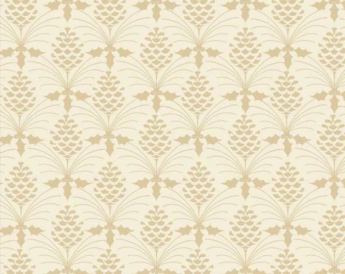 Christmas Bird Song by P&B Tex - Tonal Cream on Cream Pine-cone Design