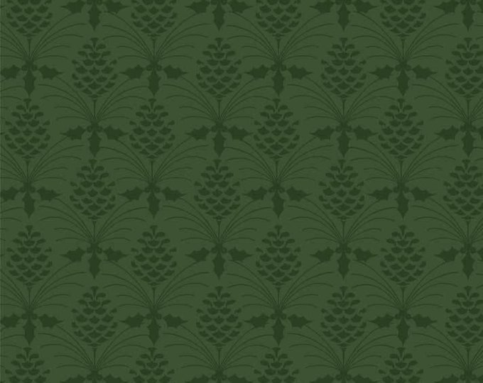 Christmas Bird Song by P&B Tex - Tonal Hunter Green on Hunter Green Pine-cone Design