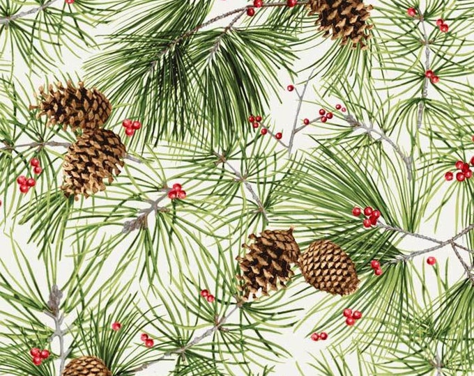 Christmas Bird Song by P&B Tex - Pine needles and Pine cones on Cream.