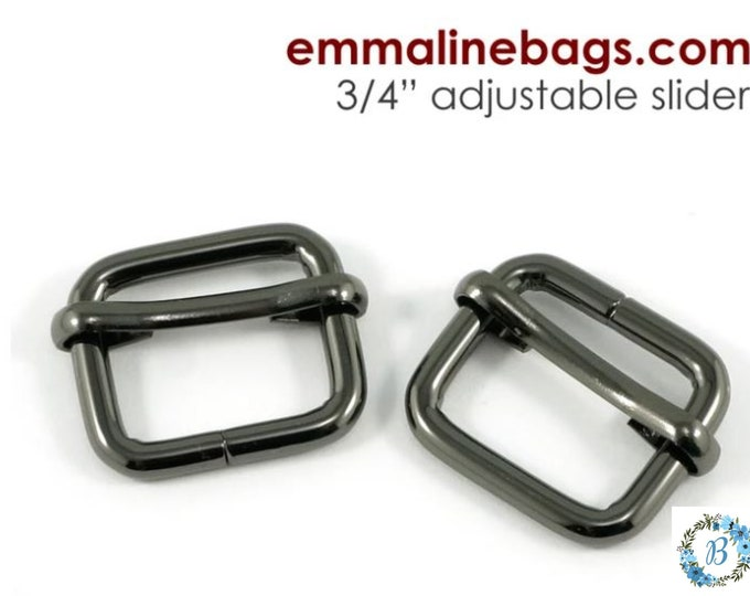 "EMMALINE BAG HARDWARE Strap Slider (2 Pack) 3/4"" - Gunmetal"