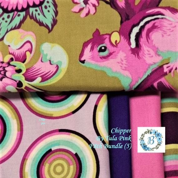 TULA F8th Bundles  - CHIPPER  Tula Pink for Free Spirit F8th Bundles of 5 Cuts