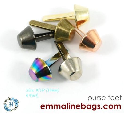 "EMMALINE BAG HARDWARE Bucket Purse Feet: 9/16"" -  14mm  (6 Pack)- Various Finishes"