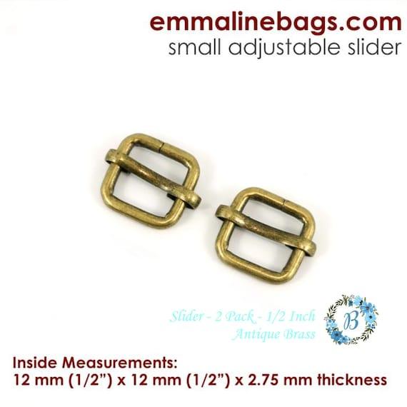 Slider 1/2 Inch - EMMALINE BAG HARDWARE Strap Slider (2 Pack) Various Finishes