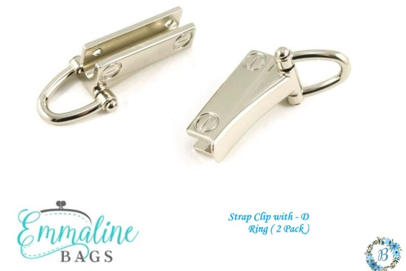 STRAP CLIPS Emmaline Bags Strap Clip with D-Ring- (2 Pack)various finishes