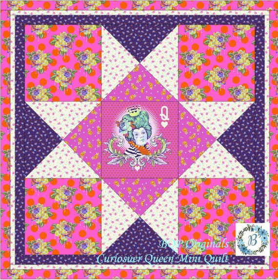 TULA PINK Mini Quilt Featuring The Curiouser Queen - Mini Quilt Kit designed by BQP Originals - Great for Gift Giving