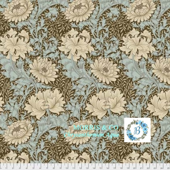 MORRIS and Co.CHRYSANTHEMUM- Aqua  The Original Morris & Co.,  Be a part of the Arts and Crafts Movement Today