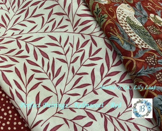 MORRIS and Co. Lily Leaf Red The Original Morris & Co.,  Be a part of the Arts and Crafts Movement Today