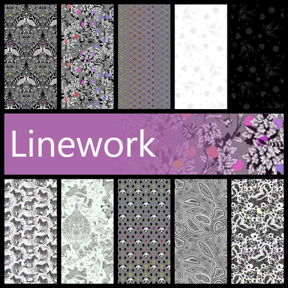 Tula Pink & LINEWORK   FQ Bundle of Linework - includes 12 fabrics from the collection for Free Spirit
