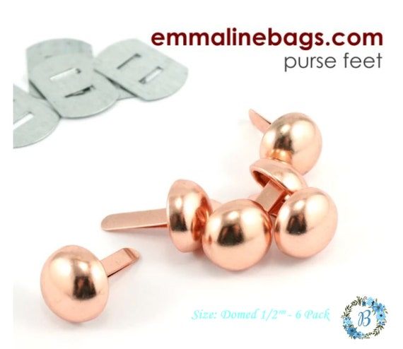 """DOMED Purse Feet EMMALINE Bag Hardware -   Domed Purse Feet: 12 mm  (1/2"""") (6 Pack)- Various Finishes"""