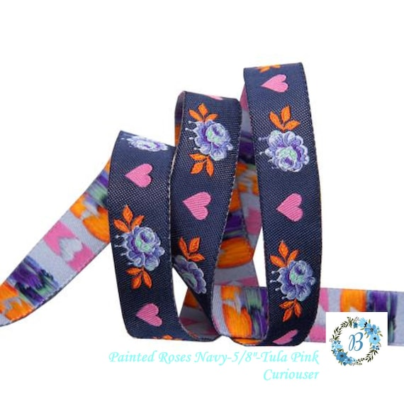 """PRE-ORDER - Painted Roses 5/8"""" -Tula Pink Curiouser - Take your special project to the next level with these gorgeous ribbons -Pink & Navy"""