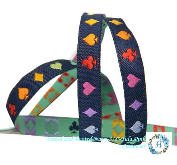 """PRE-ORDER - Suited and Booted-3/8""""-Tula Pink Curiouser - Take your project to the next level with these gorgeous ribbons -Navy & Ercu"""