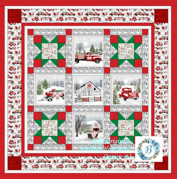HOLIDAY HEARTLAND Quilt Kit Option #3 with fabrics designed by Jan Shade -Bring the Hearland Christmas feel & ambiance into your Home