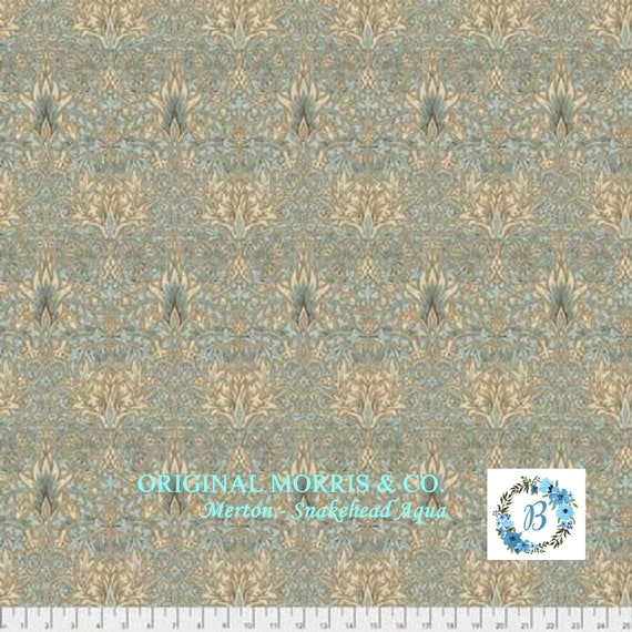 MORRIS and Co.MERTON - SNAKEHEAD Aqua  The Original Morris & Co.,  Be a part of the Arts and Crafts Movement Today
