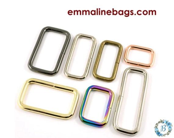 EMMALINE BAG HARDWARE Rectangular Rings 4 pack - Various sizes and Finishes