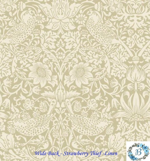 Wide Back Strawberry Thief -- Linen (Morris & Co.) Finish your quilt with the perfect backing