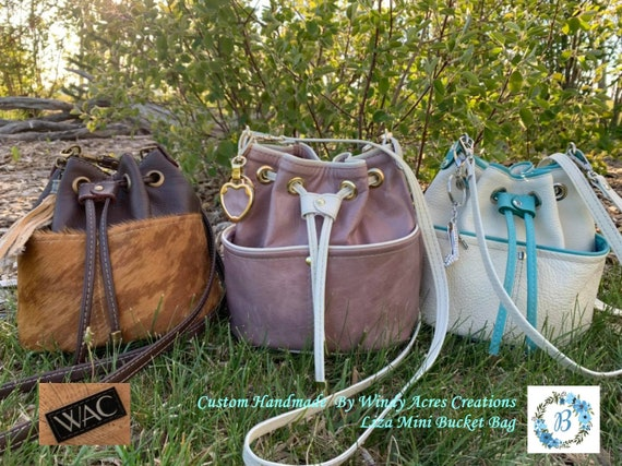 """LIZA's MINI - Bucket Bag -- Enjoy a gorgeous Bag """"Handmade by WAC"""" This bucket bag in three finish choices is a mini, but can handle a lot!!"""