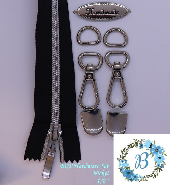 "SET Complete Bag Hardware Set - New and in stock Handmade Tag, 1/2"" Swivel, 1/2"" D-Ring, Zipper End & 15"" #5 Zipper"