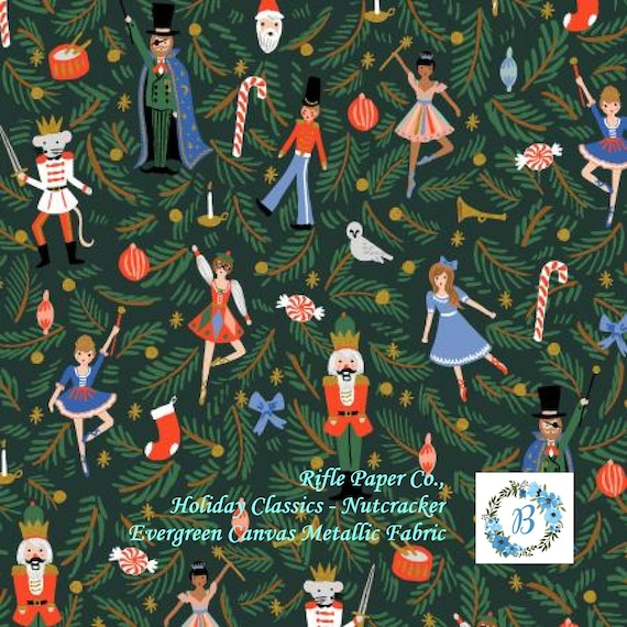 RIFLE PAPER Christmas Canvas - Great for Stockings CANVAS- Rifle Paper Co. Holiday Classics - Nutcracker - Evergreen Canvas Metallic Fabric