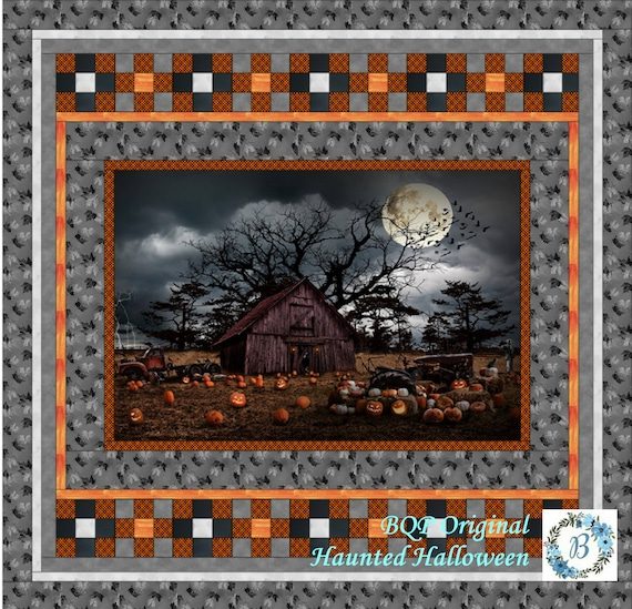 """HAUNTED HALLOWEEN - Grab and Go Quilt Kit - Quilt Top measuring 65"""" x 63) Plus U Pick Options"""