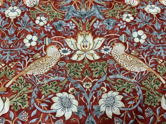 MORRIS and CO., Strawberry Thief - Crimson The Original Morris & Co.,  Be a part of the Arts and Crafts Movement Today