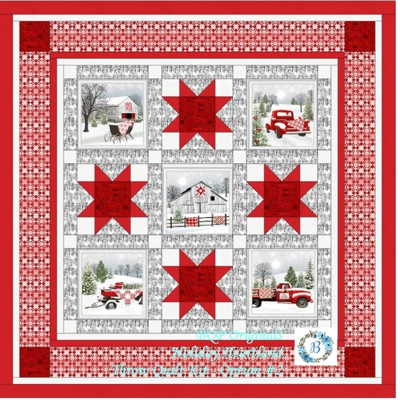 HOLIDAY HEARTLAND Quilt Kit Option #2 with fabrics designed by Jan Shade -Bring the Hearland Christmas feel & ambiance into your Home