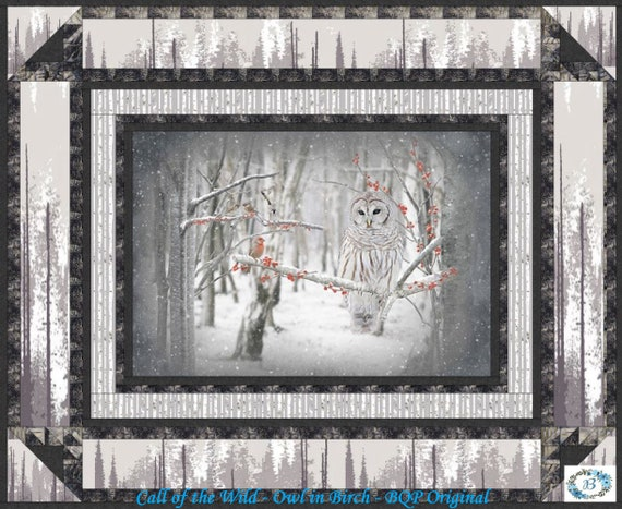 """QUILT KIT - Featuring Call of the Wild Owl in Birch - Create your very own touch of wilderness with """"Silence in the Birch"""""""