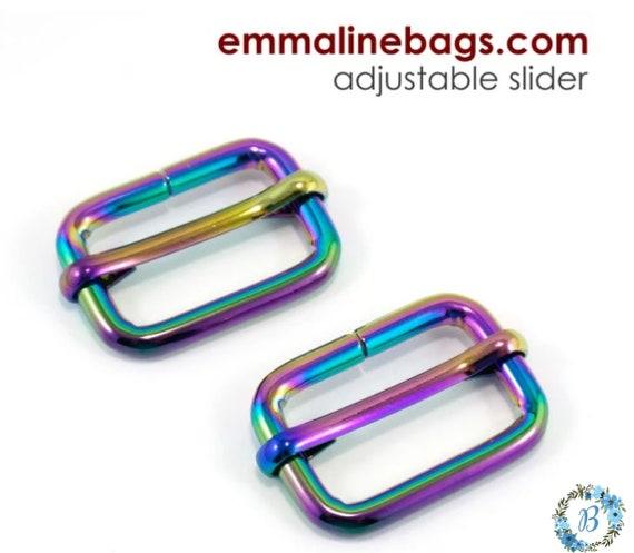 """Sliders 3/4 Inch EMMALINE BAG HARDWARE Strap Slider (2 Pack) 3/4"""" - Various Colors"""
