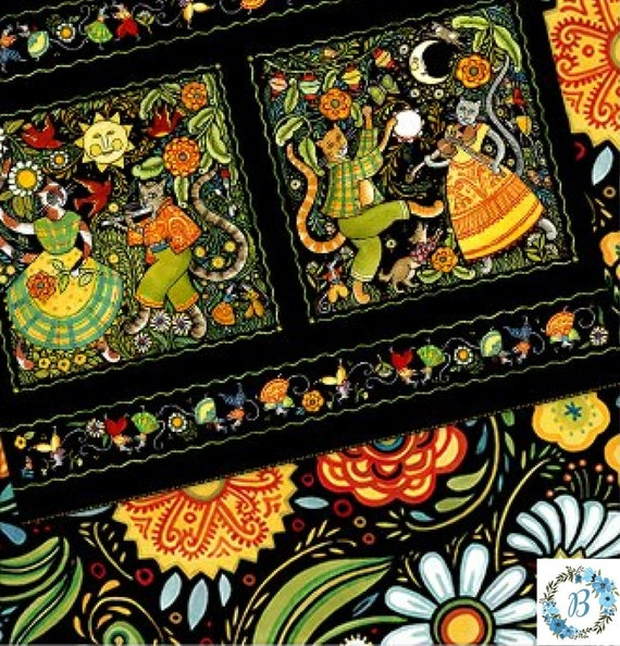 In the Beginning Fabrics - Digital Hey Diddle Diddle Panel Only  -  By Julie Paschkis