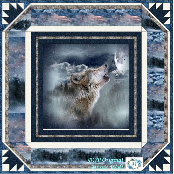 """QUILT KIT - Featuring Call of the Wild  Moonstruck - Create your very own touch of wilderness with """"Mystic Wolf"""""""