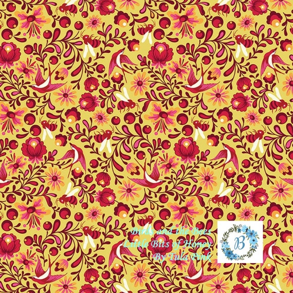 Birds and the Bees - Little Bits of Honey - OOP Cinnamon by Tula Pink for Free Spirit Half Metre Cuts from the Bolt