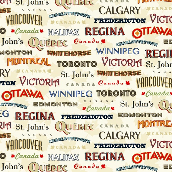 Keep it Canadian with this vintage Coast to Coast collection ideal for quilt backing