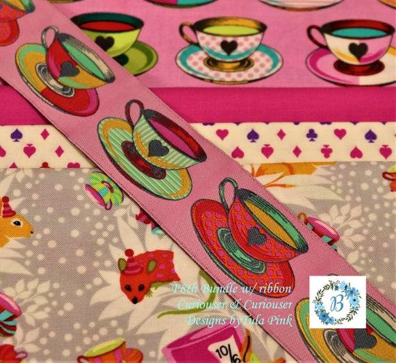 TULA F8th Bundles  - CURIOUSER (4 F8th's plus 1/2 yard of ribbon) Tula Pink for Free Spirit