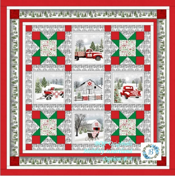 HOLIDAY HEARTLAND Quilt Kit Option #4 with fabrics designed by Jan Shade -Bring the Hearland Christmas feel & ambiance into your Home