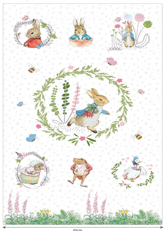 PETER RABBIT - PANEL- Exclusive Listing - Enjoy seeing Beatrix Potter's Characters on fabric.