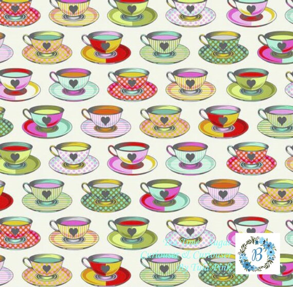 PRE-ORDER - Curiouser & Curiouser  Pre Order Offer Buy the Metre -  Tea Time - Tula Pink For Free Spirit