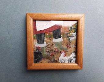 Chickens underfoot, an original artwork
