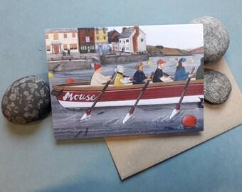 Crisp morning row. A greetings card
