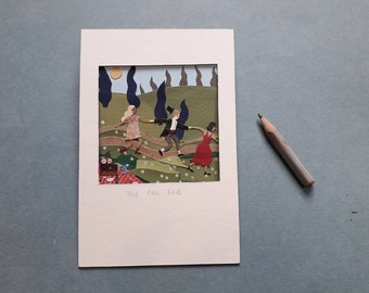 The tail end, a miniature collage showing dancers at a picnic party.