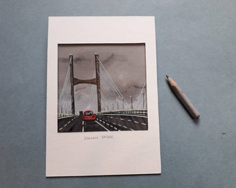 Severn views, a miniature collage showing the Severn bridge.
