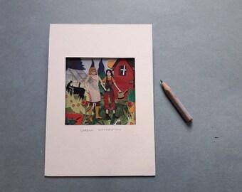 Garden conversation, a miniature collage showing friends in the garden.