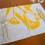Yellow gum blossom design placemat set of 4. Linen placemats in Australian native print. Table linen set/place setting. Australian designer.