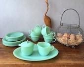Vintage Fire King Jadeite, Jane Ray set, Plates, Cups Saucers, Milk Jug, Sugar Bowl Mint Green Fire King Oven Ware Jadeite Anchor