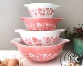 Vintage Pyrex Pink Gooseberry Cinderella Bowls 441, 442, 443, 444 Mixsing Bowls - 50 39 s Kitchenware