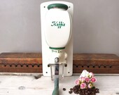 Vintage PeDe Coffee Grinder, Dutch Coffee Grinder, Wall Mounted Manual Coffee Mill, Green Cream, 50 39 s Holland Kitchenware